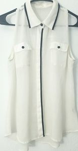 EDGE Shirt sleeveless White with black Sz L